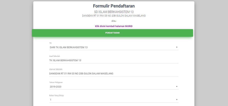 <p>Halaman Formulir Pendafataran Tingkat Solah SD<br></p>
