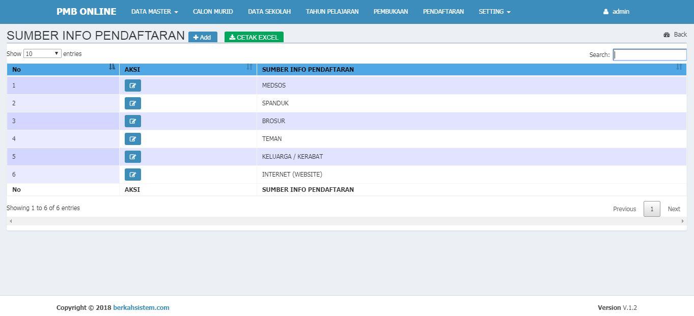 <p>Halaman Data Master Sumber Informasi Pendaftaran<br></p>