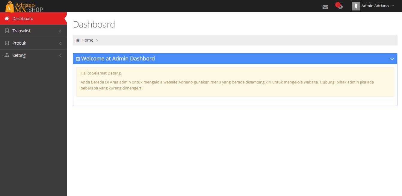 <p>Halaman Sukses Login Admin website</p>