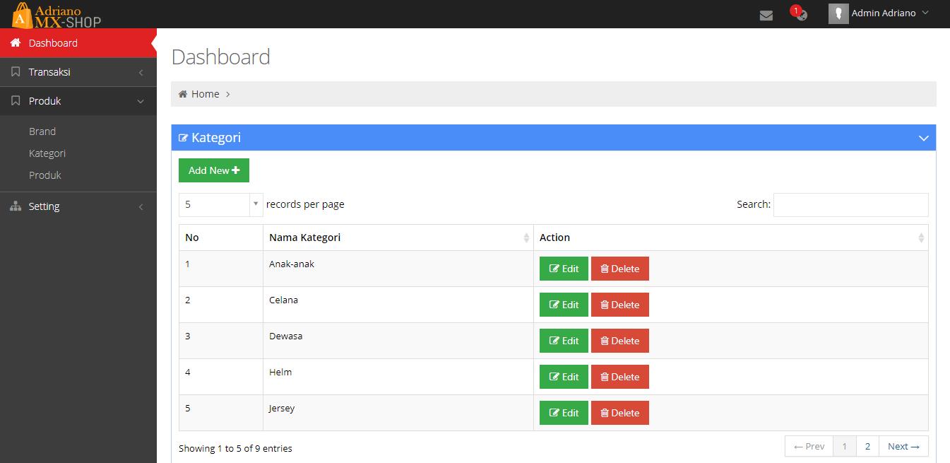 <p>  Halaman Admin Produk Kategori</p>