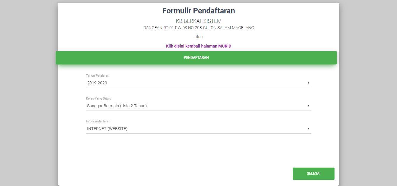 <p>Halaman Formulir Pendafataran Tingkat Solah KB<br></p>